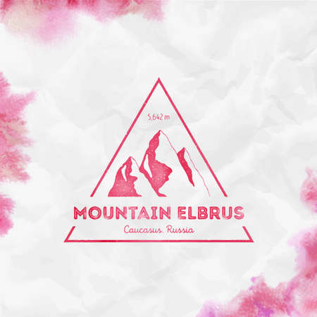 Elbrus Triangular mountain red vector insignia. Elbrus in Caucasus, Russia outdoor adventure illustration. Climbing, trekking, hiking, mountaineering and other extreme activities template.