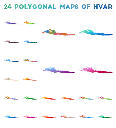 Set of vector polygonal maps of Hvar. Bright gradient map of island in low poly style. Multicolored Hvar map in geometric style for your infographics.