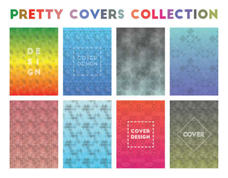 Pretty Covers Collection. Actual geometric patterns. Vibrant background. Vector illustration.