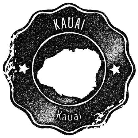 Kauai map vintage stamp. Retro style handmade label, badge or element for travel souvenirs. Black rubber stamp with island map silhouette. Vector illustration.
