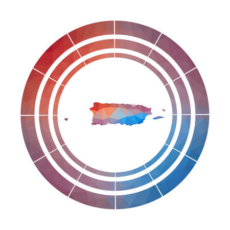 Puerto Rico badge. Bright gradient  of country in low poly style. Multicolored Puerto Rico rounded sign with map in geometric style for your infographics.