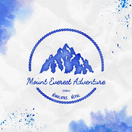 Everest  Round hiking blue vector insignia. Everest in Himalayas, China outdoor adventure illustration. Climbing, trekking, hiking, mountaineering and other extreme activities watercolor