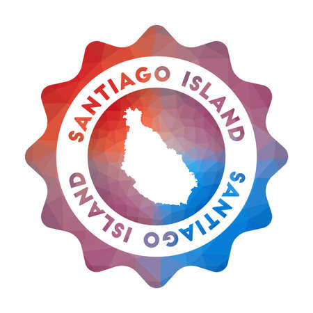 Santiago Island in geometric style. Multicolored polygonal Santiago Island rounded sign with map for your infographics. Vektoros illusztráció