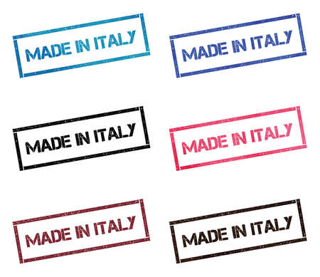 Made in Italy rectangular stamp collection. Textured seals with text isolated on white backgound. Stamps in turquoise, red, blue, black and sepia colors.