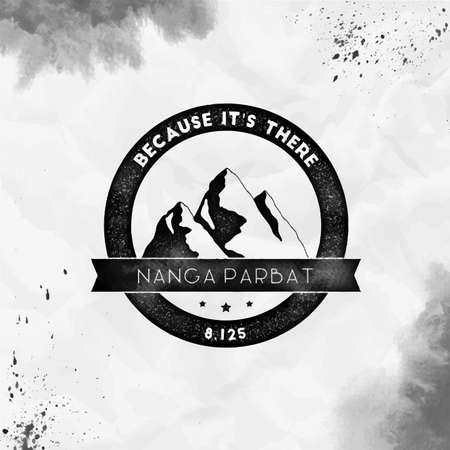 Nanga Parbat   Round climbing black vector insignia. Nanga Parbat in Himalayas, Pakistan outdoor adventure illustration.