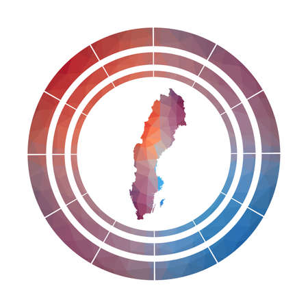 Sweden badge. Multicolored Sweden rounded sign with map in geometric style for your infographics.