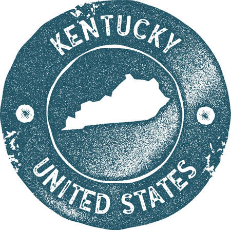 Kentucky map vintage stamp. Retro style handmade label, badge or element for travel souvenirs. Blue rubber stamp with us state map silhouette. Vector illustration.