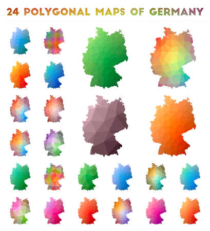 Set of vector polygonal maps of Germany. Bright gradient map of country in low poly style. Multicolored Germany map in geometric style for your infographics.