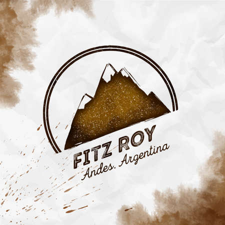 Fitz Roy  Round mountain sepia vector insignia. Fitz Roy in Andes, Chile outdoor adventure illustration. Climbing, trekking, hiking, mountaineering and other extreme activities