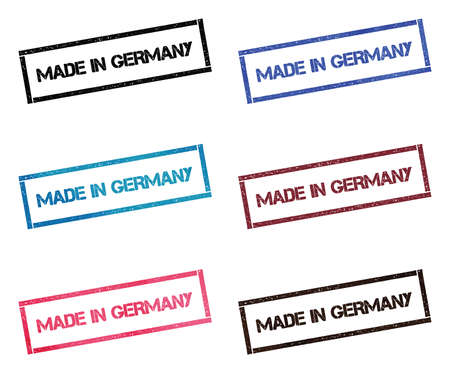 Made in Germany rectangular stamp collection. Textured seals with text isolated on white backgound. Stamps in turquoise, red, blue, black and sepia colors.