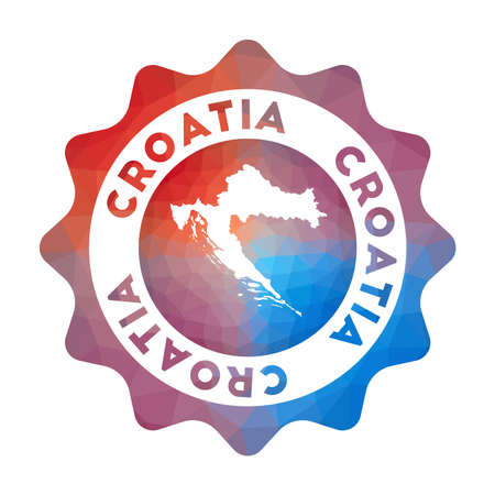 Croatia low poly Colorful gradient travel of the country in geometric style. Multicolored polygonal Croatia rounded sign with map for your infographics. 矢量图像