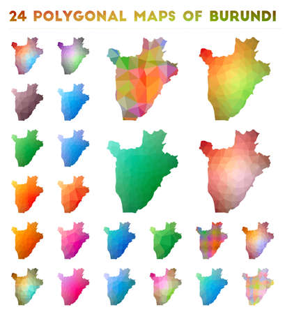 Set of vector polygonal maps of Burundi. Bright gradient map of country in low poly style. Multicolored Burundi map in geometric style for your infographics. Illustration
