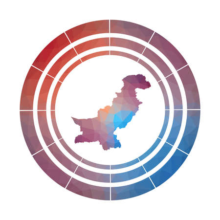 Pakistan badge. Bright gradient   of country in low poly style. Multicolored Pakistan rounded sign with map in geometric style for your infographics.
