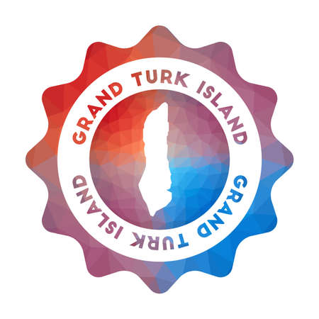 Grand Turk Island low poly   Colorful gradient travel   of the island in geometric style. Multicolored polygonal Grand Turk Island rounded sign with map for your infographics.