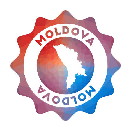 Moldova low poly of the country in geometric style. Multicolored polygonal Moldova rounded sign with map for your infographics.