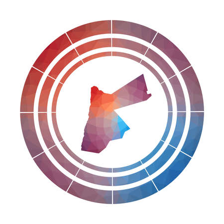 Jordan badge.  Multicolored Jordan rounded sign with map in geometric style for your infographics.