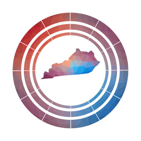 Kentucky badge.  Multicolored Kentucky rounded sign with map in geometric style for your infographics.