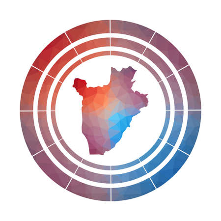 Burundi badge.  Multicolored Burundi rounded sign with map in geometric style for your infographics. Illustration
