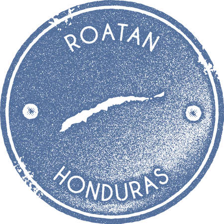 Roatan map vintage stamp. Retro style handmade label, badge or element for travel souvenirs. Light blue rubber stamp with island map silhouette. Vector illustration. Illustration