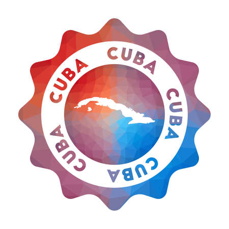 Cuba  in geometric style. Multicolored polygonal Cuba rounded sign with map for your infographics.