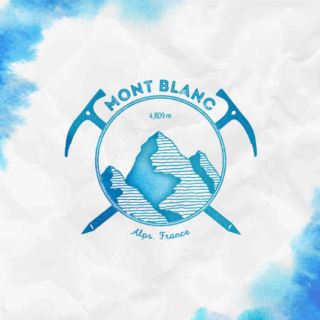 Mont Blanc   Climbing mountain turquoise vector insignia. Mont Blanc in Alps, Italy outdoor adventure illustration.