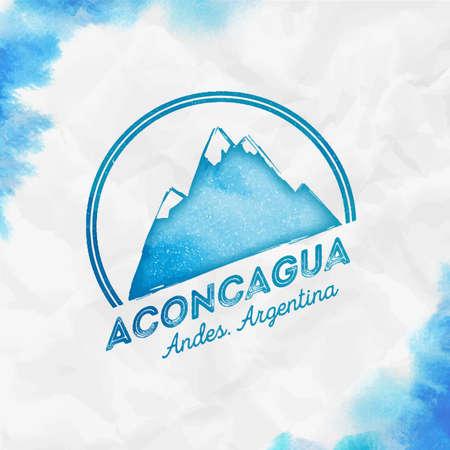 Mountain Aconcagua   Round mountain turquoise vector insignia. Aconcagua in Andes, Argentina outdoor adventure illustration.
