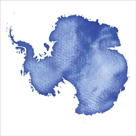 Mapa Antarktydy. Kolorowa akwarela mapa Antarktydy. Zabawny ilustracji wektorowych kraju.
