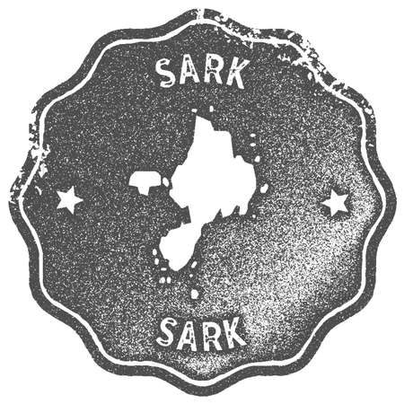 Sark map vintage stamp. Retro style handmade label, badge or element for travel souvenirs. Grey rubber stamp with island map silhouette. Vector illustration.
