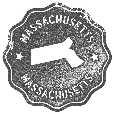 Massachusetts map vintage stamp. Retro style handmade label, badge or element for travel souvenirs. Grey rubber stamp with us state map silhouette. Vector illustration. 向量圖像