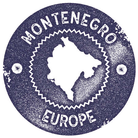 Montenegro map vintage stamp. Retro style handmade label, badge or element for travel souvenirs. Deep purple rubber stamp with country map silhouette. Vector illustration.