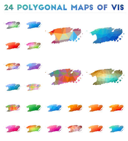 Set of vector polygonal maps of Vis. Bright gradient map of island in low poly style. Multicolored Vis map in geometric style for your infographics.