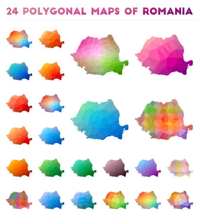 Set of vector polygonal maps of Romania. Bright gradient map of country in low poly style. Multicolored Romania map in geometric style for your infographics.