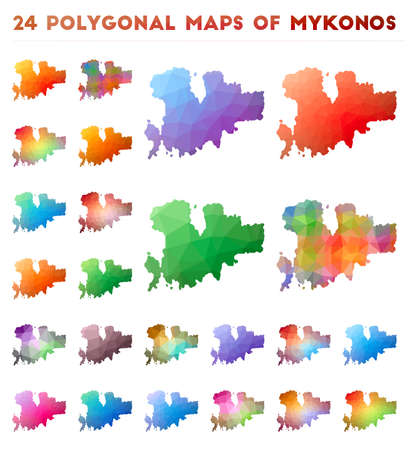 Set of vector polygonal maps of Mykonos. Bright gradient map of island in low poly style. Multicolored Mykonos map in geometric style for your infographics. Illustration