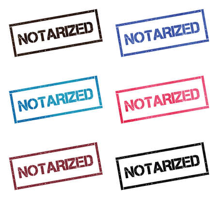 Notarized rectangular stamp collection. Textured seals with text isolated on white backgound. Stamps in turquoise, red, blue, black and sepia colors. Colourful watercolor style vector illustration. Illusztráció