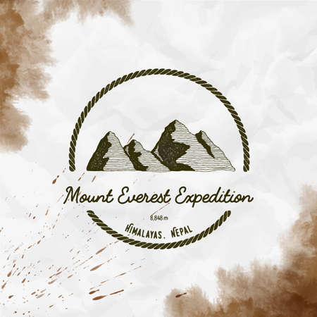 Everest logo. Round trekking sepia vector insignia. Everest in Himalayas, China outdoor adventure illustration. Climbing, trekking, hiking, mountaineering and other extreme activities logo template.