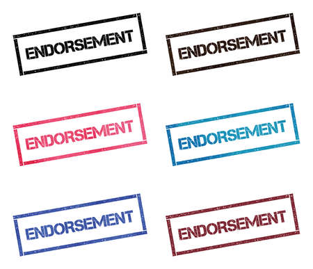 Endorsement rectangular stamp collection. Textured seals with text isolated on white backgound. Stamps in turquoise, red, blue, black and sepia colors. Colourful watercolor style vector illustration.