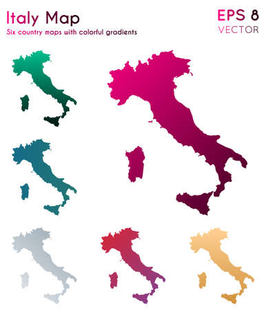 Map of Italy with beautiful gradients. Alive set of Italy maps. Amusing vector illustration.