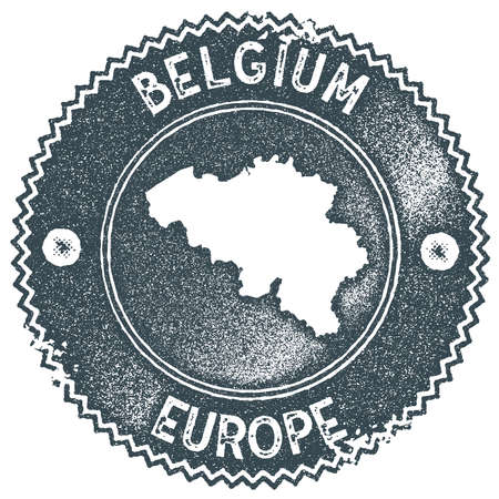 Belgium map vintage stamp. Retro style handmade label, badge or element for travel souvenirs. Dark blue rubber stamp with country map silhouette. Vector illustration.