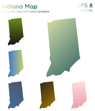 Map of Indiana with beautiful gradients. Beauteous set of Indiana maps. Ecstatic vector illustration.
