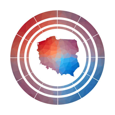 Poland badge. Bright gradient of country in low poly style. Multicolored Poland rounded sign with map in geometric style for your infographics.