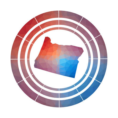 Oregon badge.  Multicolored Oregon rounded sign with map in geometric style for your infographics.