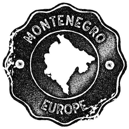 Montenegro map vintage stamp. Retro style handmade label, badge or element for travel souvenirs. Black rubber stamp with country map silhouette. Vector illustration.