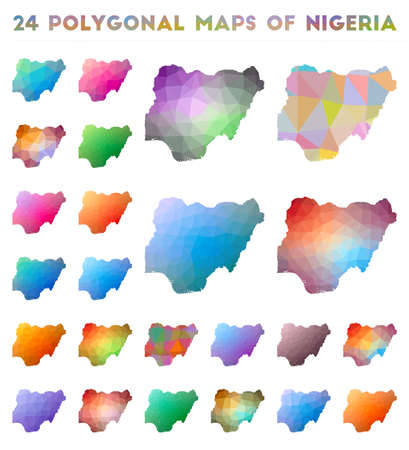 Set of vector polygonal maps of Nigeria. Bright gradient map of country in low poly style. Multicolored Nigeria map in geometric style for your infographics.