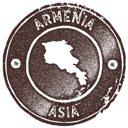Armenia map vintage stamp. Retro style handmade label, badge or element for travel souvenirs. Brown rubber stamp with country map silhouette. Vector illustration.