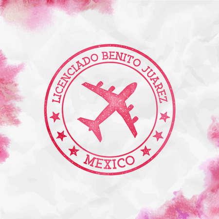 Licenciado Benito Juarez Mexico logo. Airport stamp watercolor vector illustration. Mexico City aerodrome.