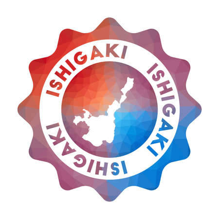 Ishigaki low poly logo. Colorful gradient travel logo of the island in geometric style. Multicolored polygonal Ishigaki rounded sign with map for your infographics.