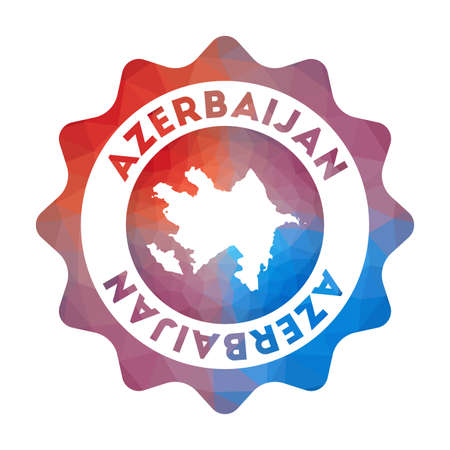 Azerbaijan low poly logo. Colorful gradient travel logo of the country in geometric style. Multicolored polygonal Azerbaijan rounded sign with map for your infographics. Illustration