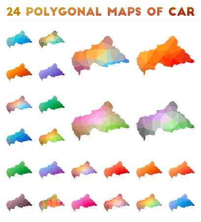 Set of vector polygonal maps of CAR. Bright gradient map of country in low poly style. Multicolored CAR map in geometric style for your infographics.