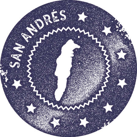 San Andres map vintage stamp. Retro style handmade label, badge or element for travel souvenirs. Deep purple rubber stamp with island map silhouette. Vector illustration.