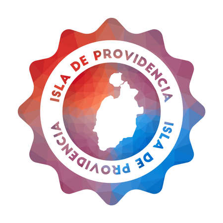 Isla de Providencia low poly logo. Colorful gradient travel logo of the island in geometric style. Multicolored polygonal Isla de Providencia rounded sign with map for your infographics. Ilustrace